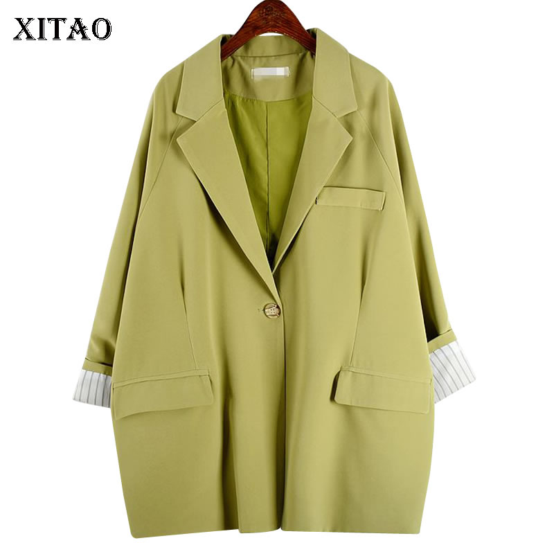 XITAO Women Fashion New Blazer Single Breast Solid Color Pocket Minority Small Fresh 2020 Spring Casual Loose Coat Top DMY2885