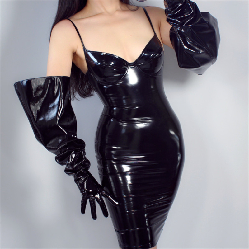PATENT LONG GLOVES Unisex Faux Leather Shine Black Balloon Puff Sleeves Large 70cm WPU146
