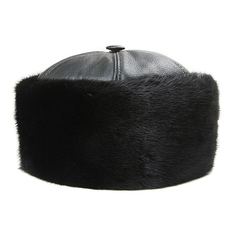 Hiver casquettes hommes Bomber chapeaux réel vison fourrure casquette extérieur chaud épaissir homme casquette rétro élégant aviateur chapeau russe en cuir avec fourrure - 3