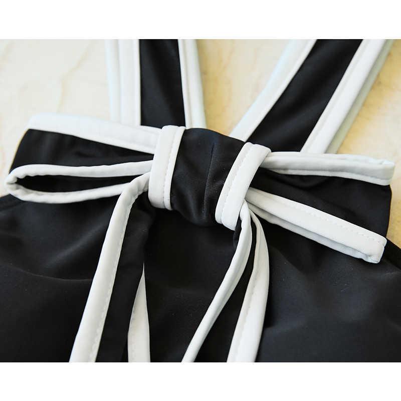 2020 水着女性ツーピース黒のストラップレスのドレスビキニセット水着ビーチウェアタンキニファッション女性プッシュアップ