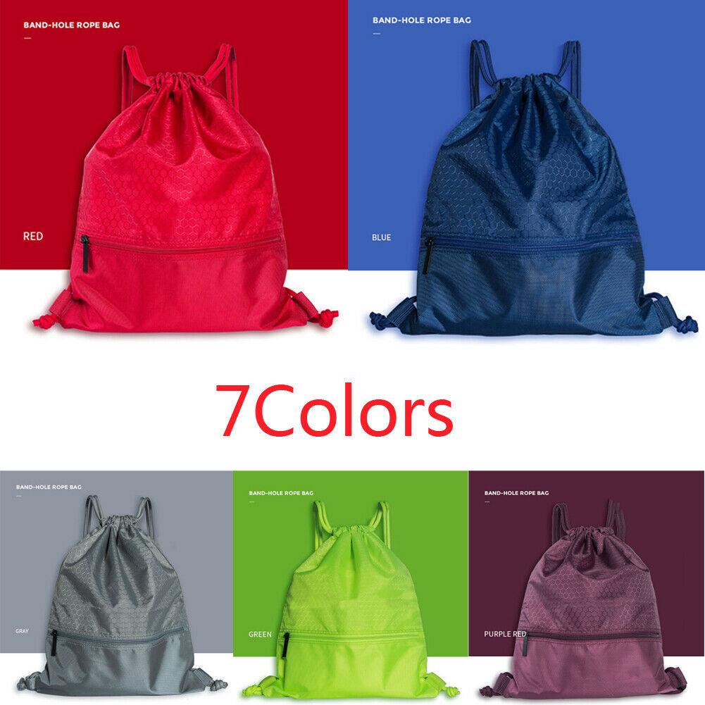 Nylon Waterproof Bag Drawstring Backpack Gym Swim School Sport Shoe Dance Bag