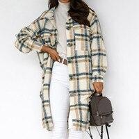2021 moda donna lana e miscele Casual Trench da lavoro cappotto da donna per il tempo libero Plaid stampato capispalla lunghi cappotti giacche