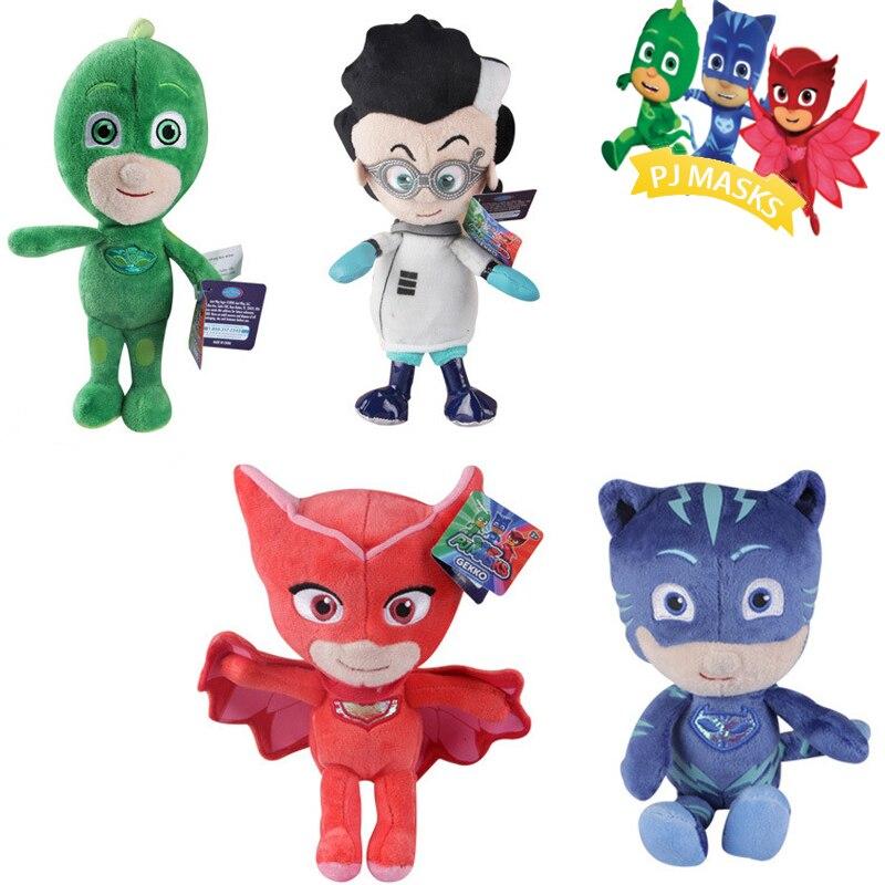 4pcs/set 20cm Cartoon Pj Catboy Owlette Gekko Cape Masks Juguete Anime Figures Plush Boneca Kids Toys For Children Gift S50