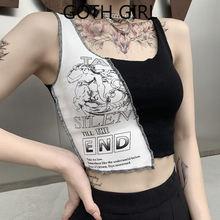 Женская разноцветная контрастная рубашка с вышивкой goth girl