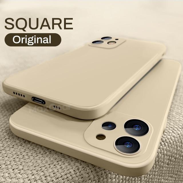 Luxury Original Square Liquid Silicone Case For iPhone 12 11 Pro Max Mini X XR XS Max 7 8 6s Plus SE 2020 Shockproof Soft Cover 1