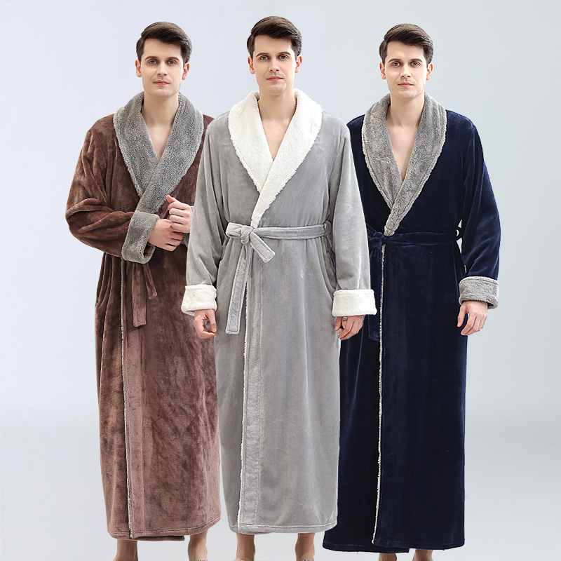 Men's Winter Super Long Warm Flannel Bathrobe Plus Size Lovers Fur Pink Bath Robe Bride Soft Night Dressing Gown Male Sleepwear