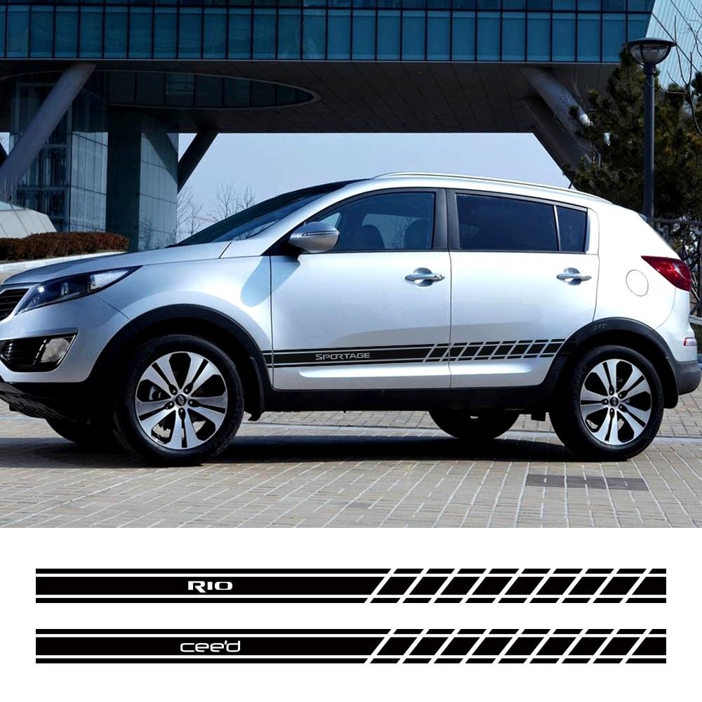 2 uds. Pegatinas de faldón lateral para puerta de coche para Kia Sportage 3 4 Rio 3 4 K2 Optima Sorento Picanto Ceed Forte Cadenza K9 Soul Accesorios