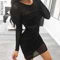 Летнее Черное мини-платье, женское сексуальное блестящее облегающее вечернее винтажное элегантное прозрачное Клубное платье в горошек с д...