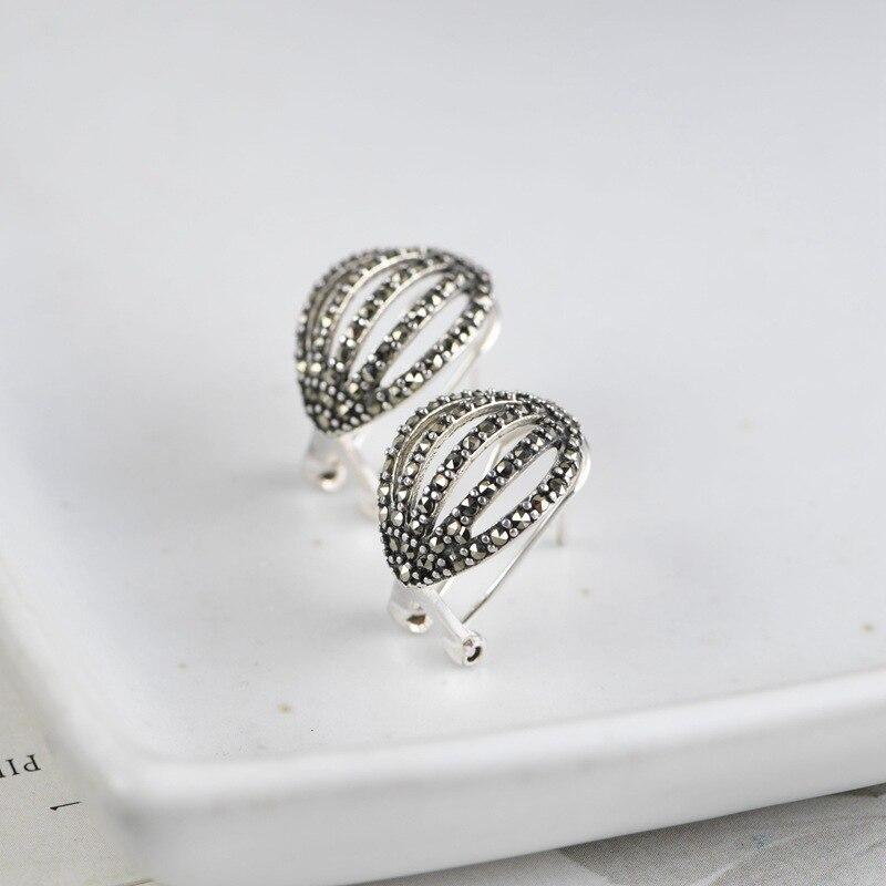 FNJ MARCASITE boucles d'oreilles 925 argent Original pur S925 en argent Sterling boucle d'oreille pour les femmes bijoux