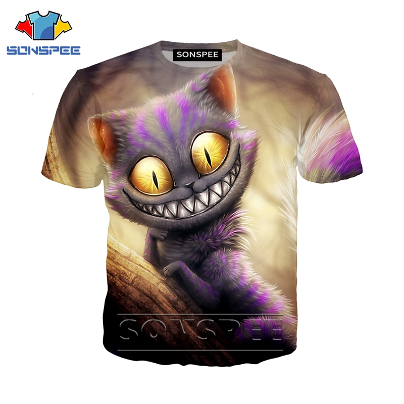 Anime 3d Print Game T Shirt Alice In Wonderland Streetwear Cat Men Women Fashion T-shirt Harajuku Kids Shirts Homme Tshirt A197