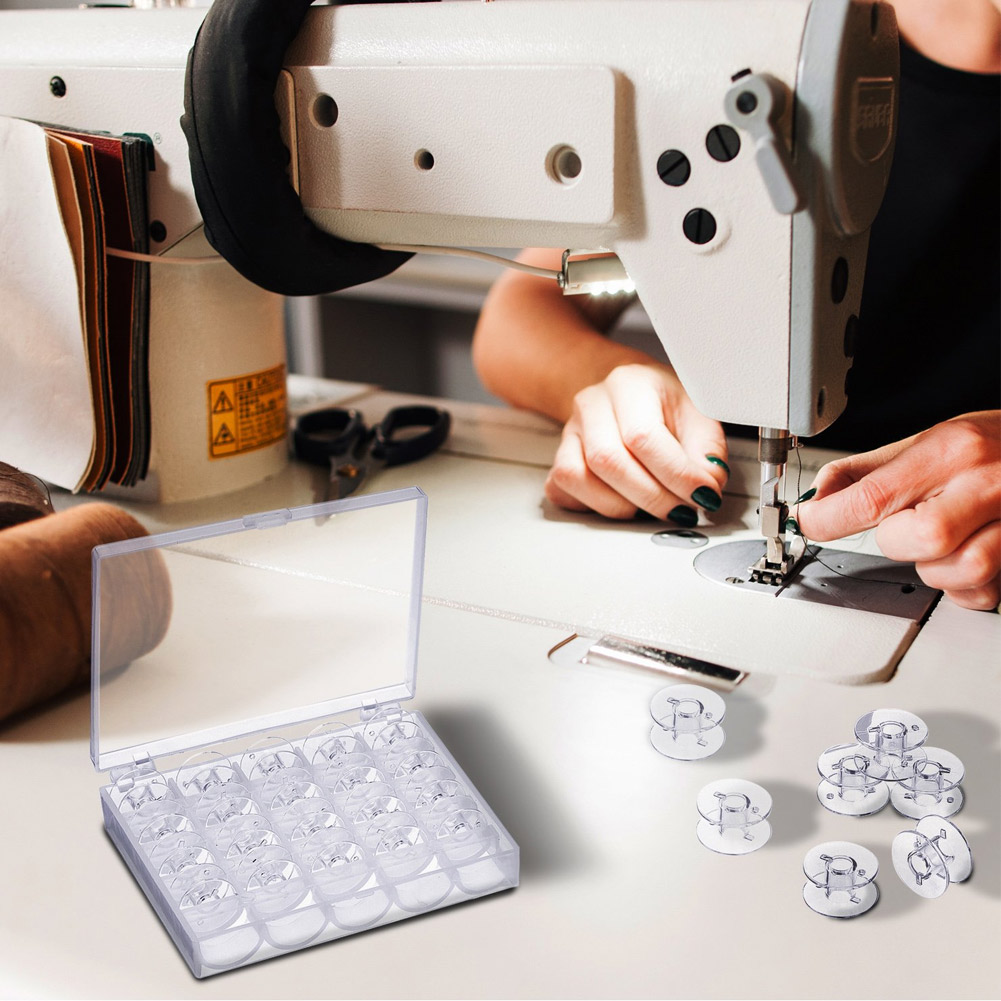 Новые 25 шт. пустые катушки для швейных машин прозрачный пластиковый чехол Коробка для хранения для Brother Janome Singer Elna Shi