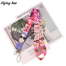 Keychain Lanyards Key-Holder Badge Mobile-Phone-Straps Id-Card Pass Pink Flyingbee X1710