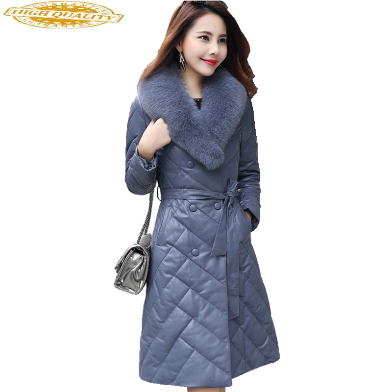 Women Real Leather Coat Natural Fox Fur Collar Long Genuine Leather Down Jacket Winter Sheepskin Coats Plus Size G1749