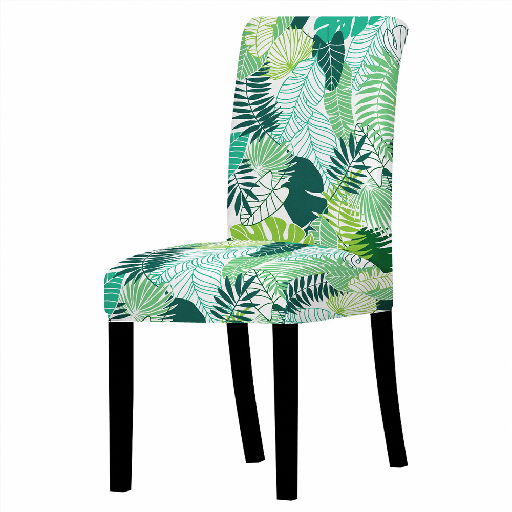 Tropical Leaf Universal Chair Covers Polyester Elastic Dining Chair Cover  Restaurant Stretch Chair Seat Protector Case