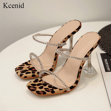 Kcenid Leopard gladiator sandals women cut outs summer shoes woman slippers crystal sandalias mujer 2020 new trendy high heels
