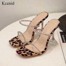 Kcenid leopardo gladiador sandálias de verão mulher chinelos de cristal sandalias mujer 2020 nova moda saltos altos