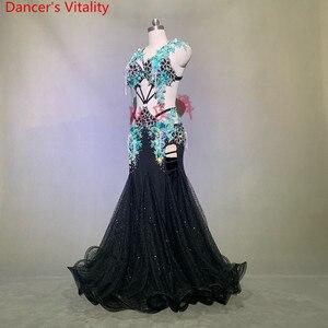 Image 4 - 豪華なベリーダンスのパフォーマンス衣装キラキラビーズブラジャービッグ裾スカートセット女性女性東洋のインドダンスステージの摩耗
