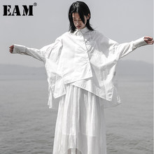 [EAM] 2019 New Autumn Winter Lapel Long Sleeve White Loose Oversize Irregular Loose Shirt Women Blouse Fashion Tide JS921(China)