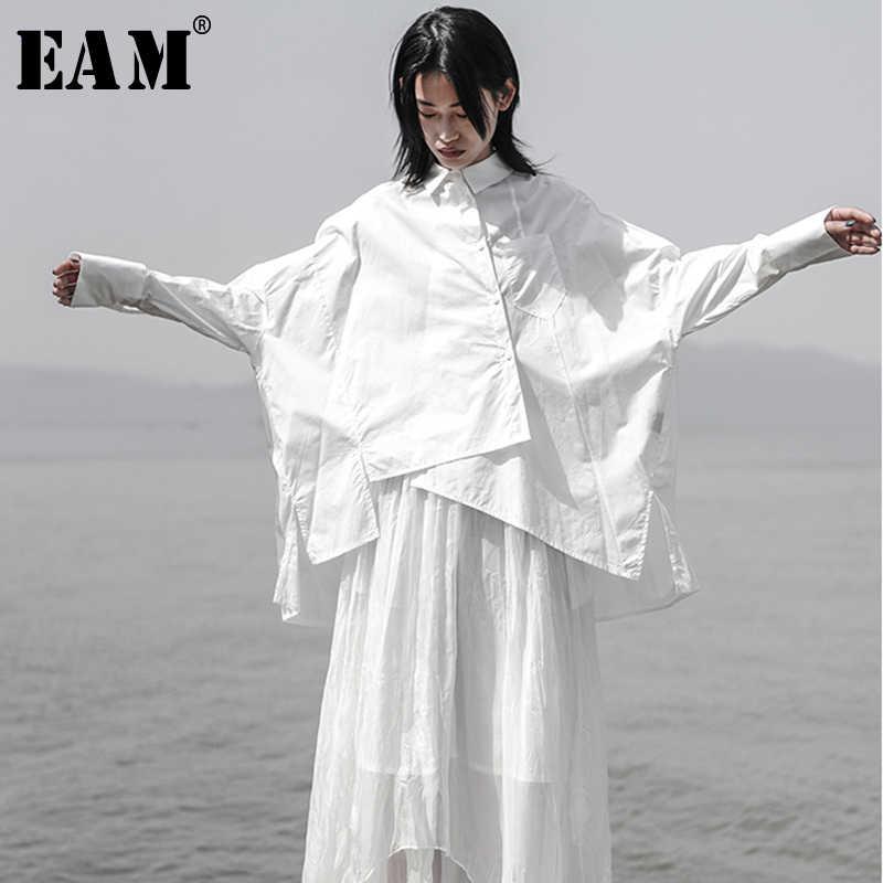 [EAM] 2019 New Autumn Winter Lapel Long Sleeve White Loose Oversize Irregular Loose Shirt Women Blouse Fashion Tide JS921