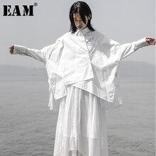 [EAM] 2020 חדש אביב סתיו דש ארוך שרוול לבן Loose Oversize סדיר רופף חולצה נשים חולצה אופנה גאות JS921