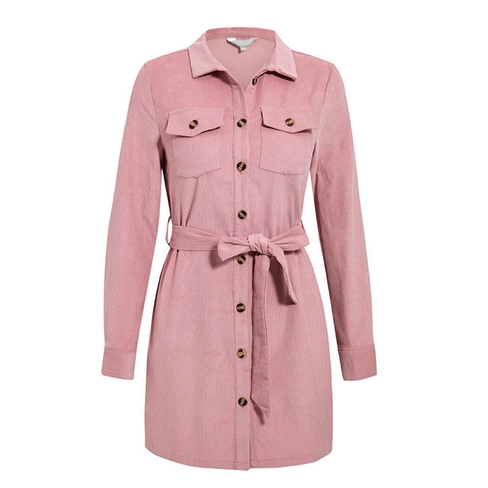 Autumn Women's Casual corduroy sash   trench   coat pocket long women autumn coat Winter warm outwear female elegant lady overcoat