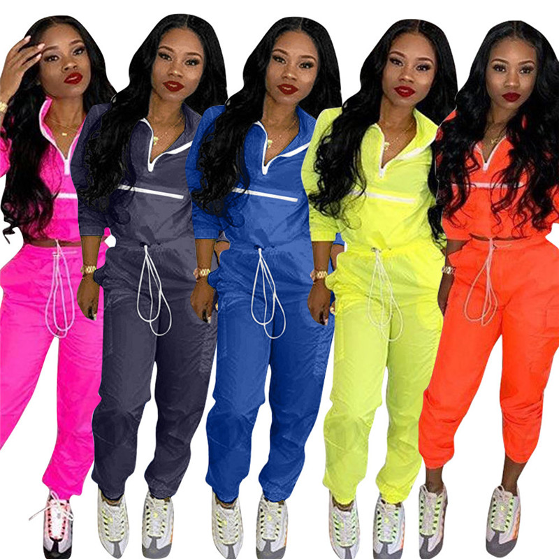 Echoine Fashion 2 Pcs Set Women Casual Zipper Tops Long Sleeve Turn Down Neck Lace Up Pockets Sport Suits Long Pants Tracksuit in Women 39 s Sets from Women 39 s Clothing