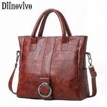 DIINOVIVO ريترو الموضوع السيدات حقائب اليد سعة كبيرة حمل حقائب كتف المرأة السفر حقيبة يد كروس أنثى جديد WHDV1231