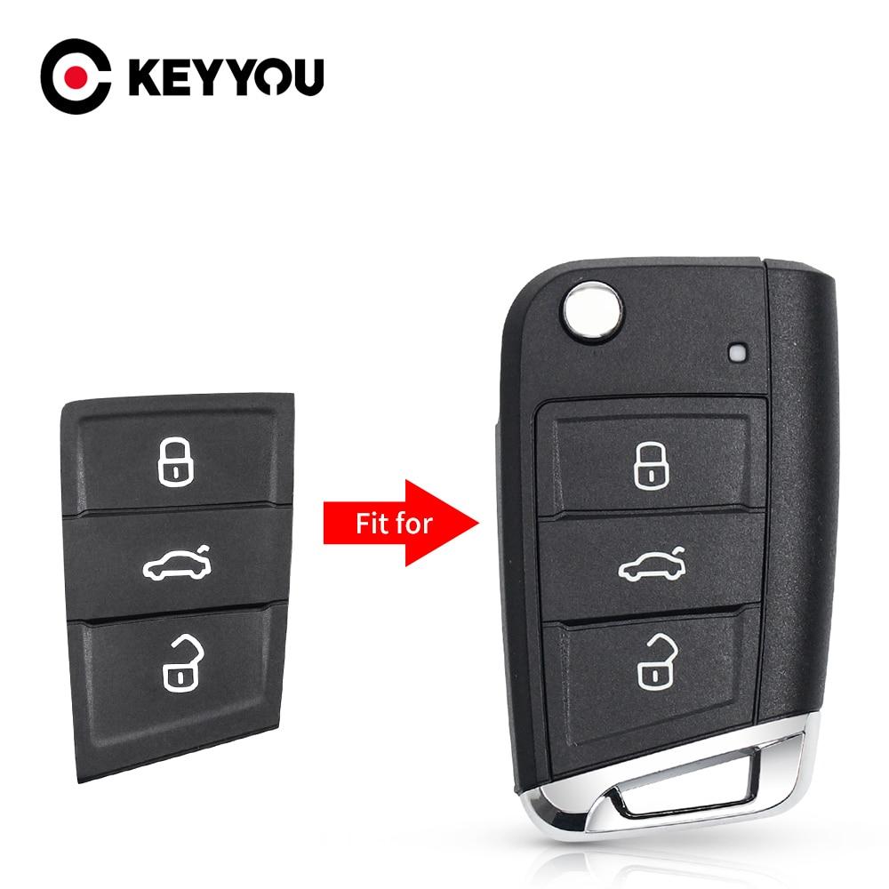 KEYYOU 10x remplacement clé de voiture pour Volkswagen Golf 7 4 5 MK4 6 pour Skoda Octavia 3 boutons tampon en caoutchouc Filp clé coque
