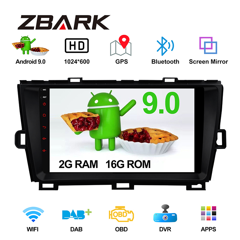 9 inch 2 Din Android 9.0 GPS Navi bluetooth left hand <font><b>drive</b></font> <font><b>Car</b></font> Radio stereo Player for <font><b>TOYOTA</b></font> Prius 2009 - 2013 YHPRSZMA1 image