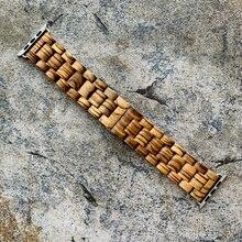 Bracelet en bois de bambou pour Apple Watch, rétro, 38mm 40mm 42mm 44mm, Bracelet pour Apple Watch série 1 2 3 4 5