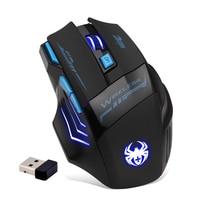Zeletes 2.4G Wireless Gaming Mouse 7 Button 2400DPI Computer USB Optical Ergonomic Mice Blue Light Black for PC Laptop