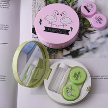 Case Container Lenses Travel-Mirror Flamingo-Contact-Lenses for Cleaner-Lens Eyewear