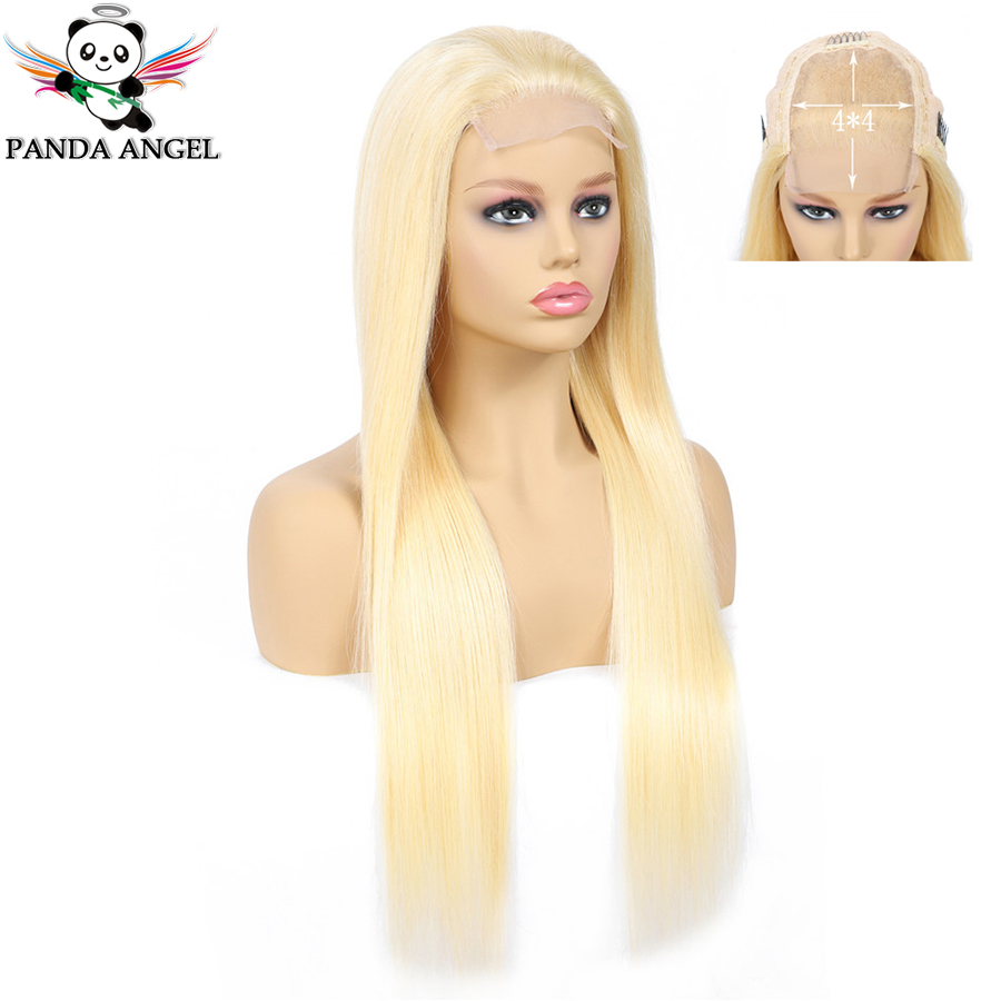 Panda 613 Blonde Lace Wigs Remy Peruvian 150% Density Blonde 613 Straight Lace Closure Human Hair Wigs For Black Women