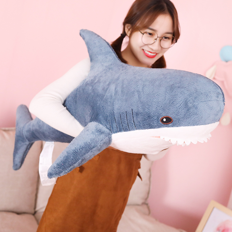 80/100/140cm Big Size Funny Soft Bite Shark Plush Toy Pillow Appease Cushion Christmas Gift For Children image