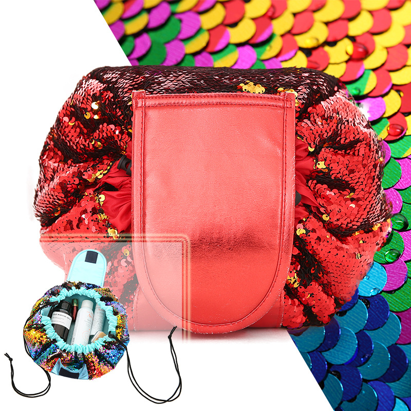 Cosmetic Bag Senior Sequins Drawstring Lazy Makeup Bag Color Sequin Portable Cosmetic Bag 4 Color
