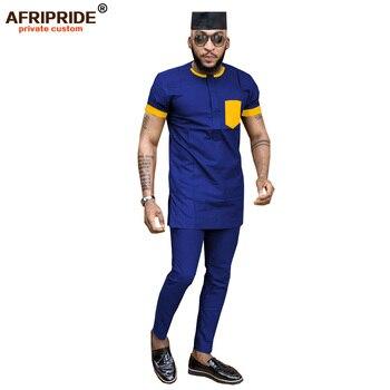 цена 2019 African Men Clothing Dashiki Print 3 Piece Short Sleeve Shirts Ankara Pants Tribal Hat Set Tracksuit AFRIPRIDE A1916014 онлайн в 2017 году