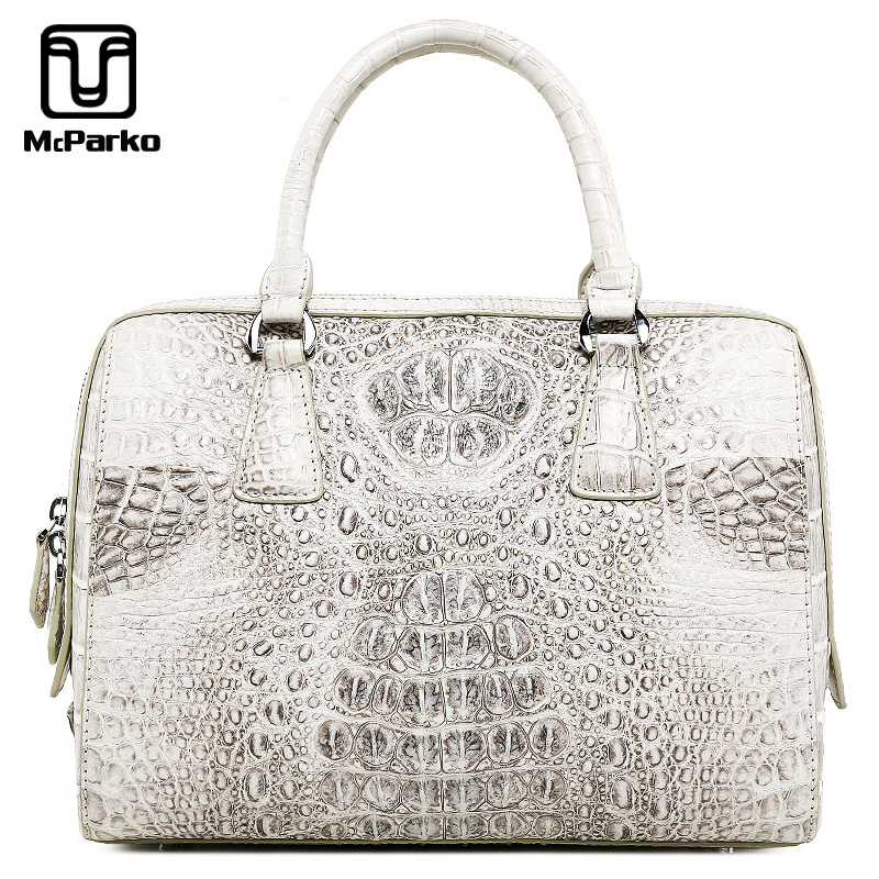 McParko Luxury Crocodile Hand Bag Women Totes Ladies Hand Bags Genuine Leather Bags For Women Fashion Elegant White Handbag Female Wife Lover's Gift