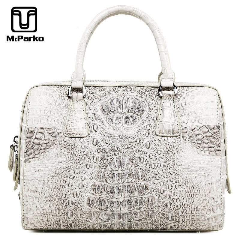 McParko Luxury Crocodile Hand Bag Women Totes Ladies Hand Bags Genuine Leather Bags For Women Fashion Elegant White Handbag Female Wife Lover's Gift