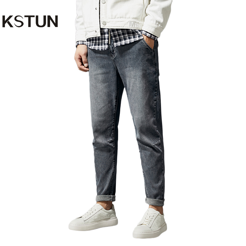 KSTUN Retro Blue Jeans Men Elastic Waist Drawstring Joggers Pants Relaxed Tapered Jeans Casual Denim Trousers Cowboys Homme Jean