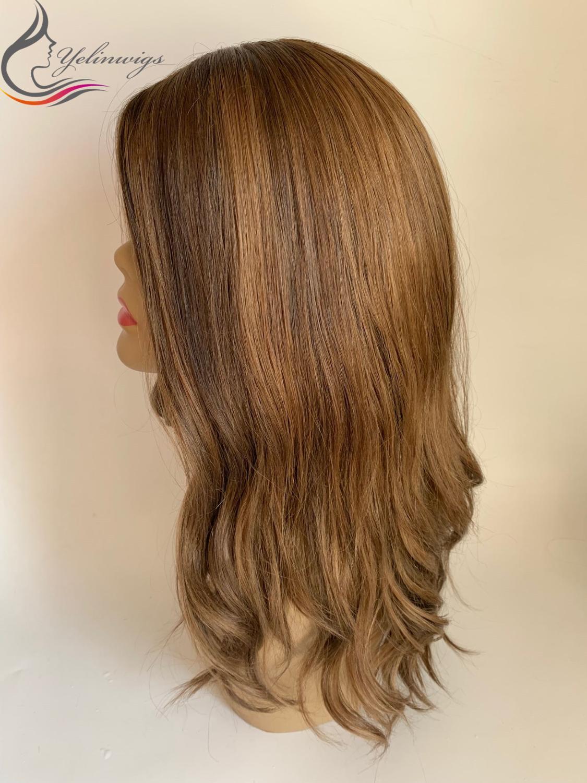 Human Hair Jewish Wig Kosher Wig Fashion Color Wavy Top European Virgin Hair Wigs 130% Density