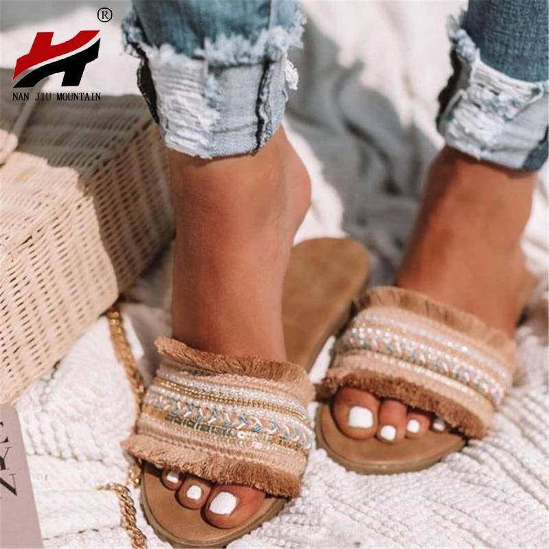 NAN JIU MOUNTAIN Summer Slippers Roman Style 2019 Women's Flat Fringe Embroidery Sequins Sandals Beach Slippers Plus Size 34-43