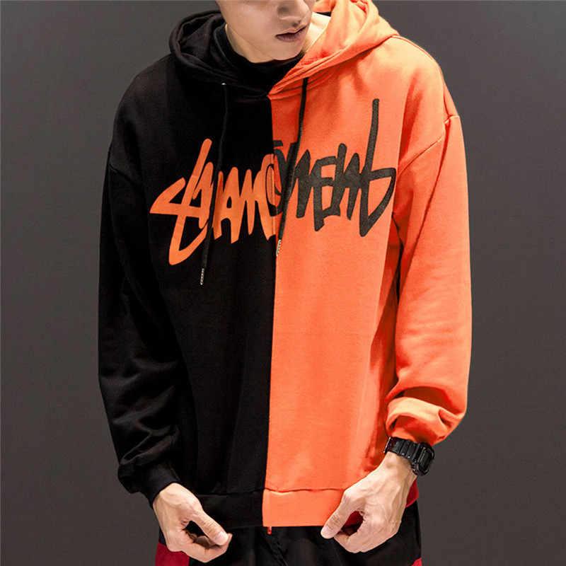 ผู้ชายรอยขีดข่วนHoodiesฤดูหนาวHarajukuขนาดใหญ่Patchworkพิมพ์ชายเสื้อกันหนาวแฟชั่นHip Hop Hooded Man Pullover Streetwear