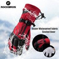 ROCKBROS 30 Degree Winter Cycling Gloves Waterproof Windproof MTB Snowboard Skiing Gloves Hiking Motorcycle Bike Gloves