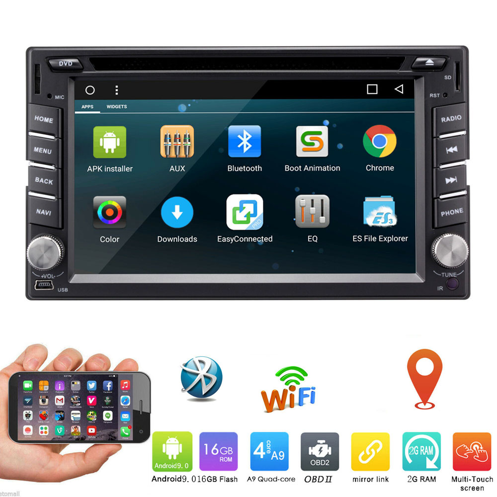 Universal 2din Android 9.0 Car DVD Player 2+16G Quad Core Car Auto Radio Stereo GPS Wifi Head unit Support DAB DVR OBD BT
