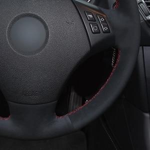 Image 4 - Coprivolante per auto cucito a mano in vera pelle scamosciata nera antiscivolo per BMW E90 E91(Touring) 320d 325i 335i X1 E84