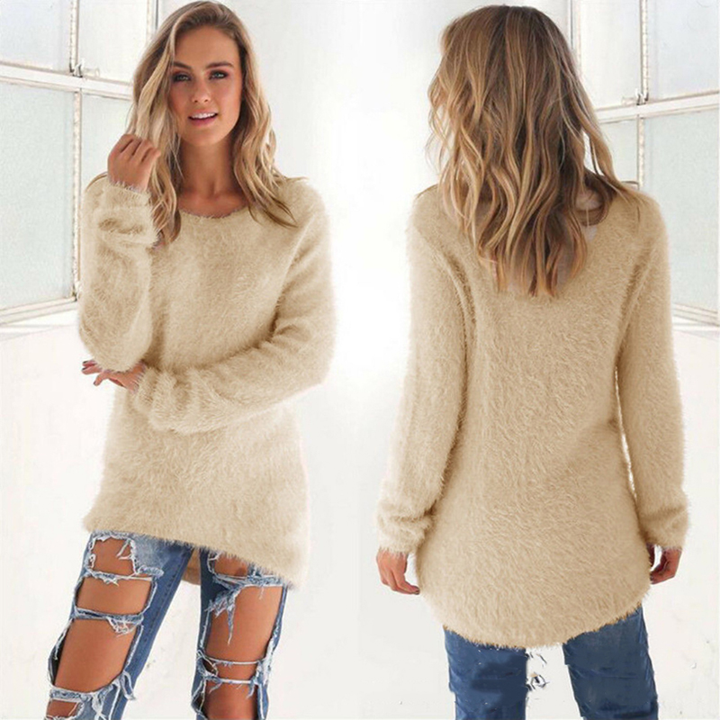 GAOKE Plus Size Knitted Sweaters Women O Neck Pullovers Casual Loose Long Sweater Winter Fashion Clothes Pull Femme Hiver