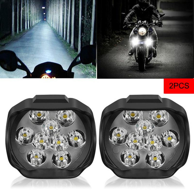 Universal 9 LED Headlight LED Motorcycle Motorbike Scooter 10W 1300MLSpotlight Waterproof Fog Spot Motos Bulb For Honda YAMAHA