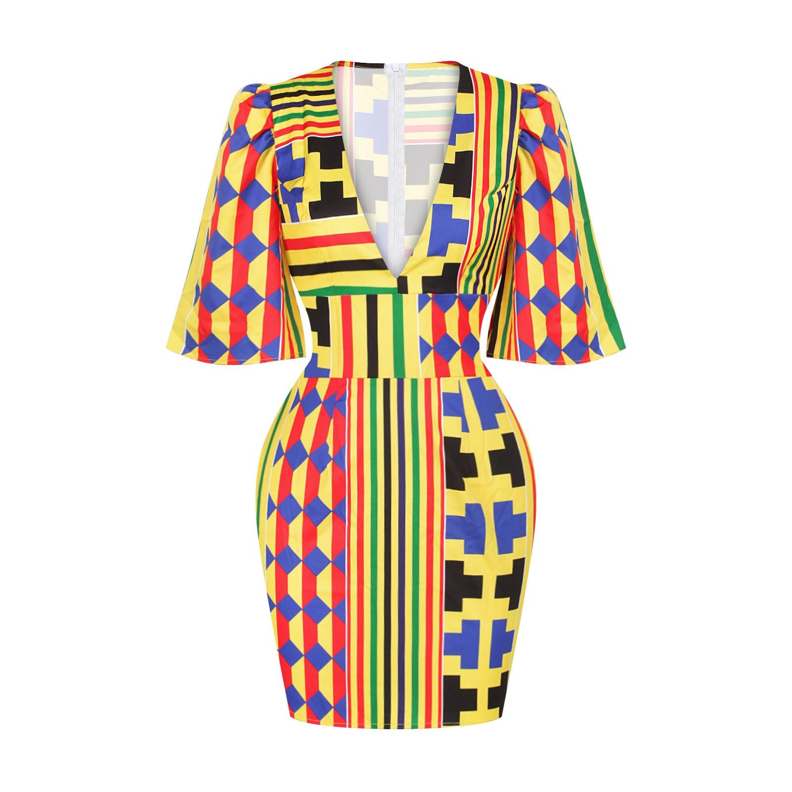 African Short Sleeve Printing Dress 6