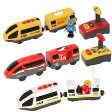 Wooden Remote Train Railway Accessories Remote Control Electric Train Magnetic Rail Car Fit For Thomas Train Track Toys For Kids