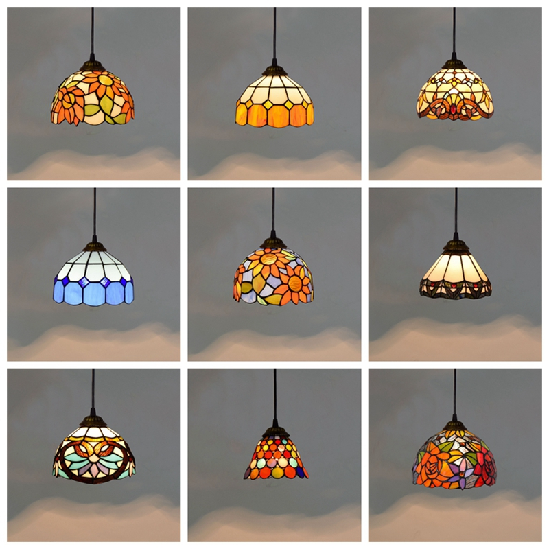 Tiffany Stained Glass Pendant Lights Vintage Mediterranean Led Kitchen Hanging Lamp Dining Room Stair Bar Home Lighting Fixtures